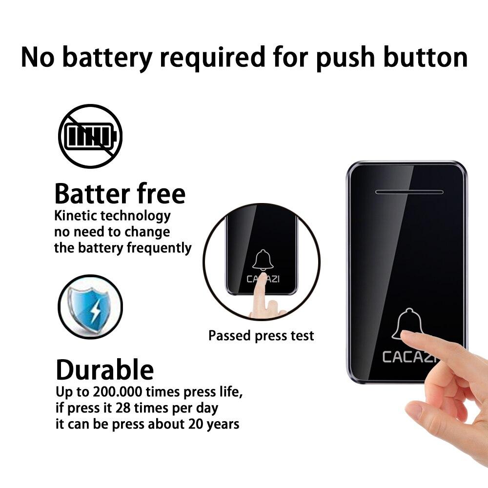 CACAZI Self powered Wireless Doorbell Waterproof No battery 1 Button 4 Receiver US EU UK Plug Led light Home Cordless DoorBell-in Doorbells from Home Improvement    2