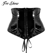 38384c5f40d14 Womens Wetlook Faux Leather Bustier Top Adjustable Lace Up Zip Up Front  Steampunk Gothic Wasit Trainer Underbust Corset Bustier