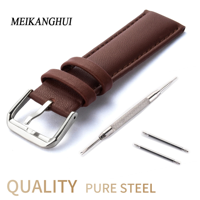 Bracelets de montre 14 15 16 17 18 19 20 21 22 23 24mm Bracelet de Montre Noir Bracelet En Cuir Véritable Marron Bracelet de Montre Tissot Heures