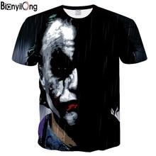 BIANYILONG/Новинка, футболка с объемным изображением лица Джокера, Забавный персонаж, Джокер, брендовая одежда, дизайнерская 3d футболка, Летние Стильные футболки, топы с принтом