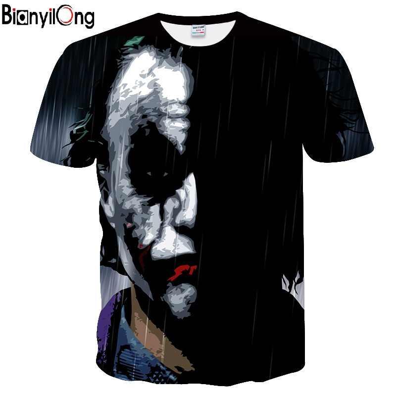 BIANYILONG/Новинка, футболка с объемным принтом «Полулицо Джокер», брендовая одежда с забавным персонажем Джокера, дизайнерская 3d футболка, Летние Стильные футболки с принтом