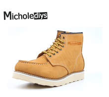 Micholediys New Arrival Winter Handmade Vintage All-matching Yellow Leather Boots Men's Boots Martin Tool Boots Wing Brown USA