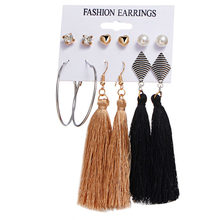 Statement Bohemian Tassels Earrings Set Black Heart Rhinestone Pearl Women's Hanging Fringe Brushes Dangle Drop Earring Jewelry(China)