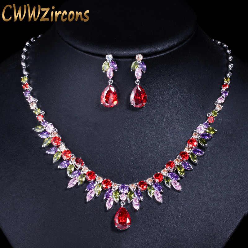 CWWZircons Multi สีแอฟริกัน Cubic Zirconia Big Drop เจ้าสาวงานแต่งงานชุดสร้อยคอต่างหูชุดเครื่องประดับสำหรับสตรี T335