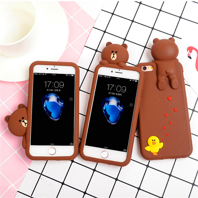 Korea Cute 3D Cartoon Bear Chicks Soft Silicone Case Cover For iphone 8 8plus 7 7plus 6 6s plus Hide And Seek Game Teddy Bear