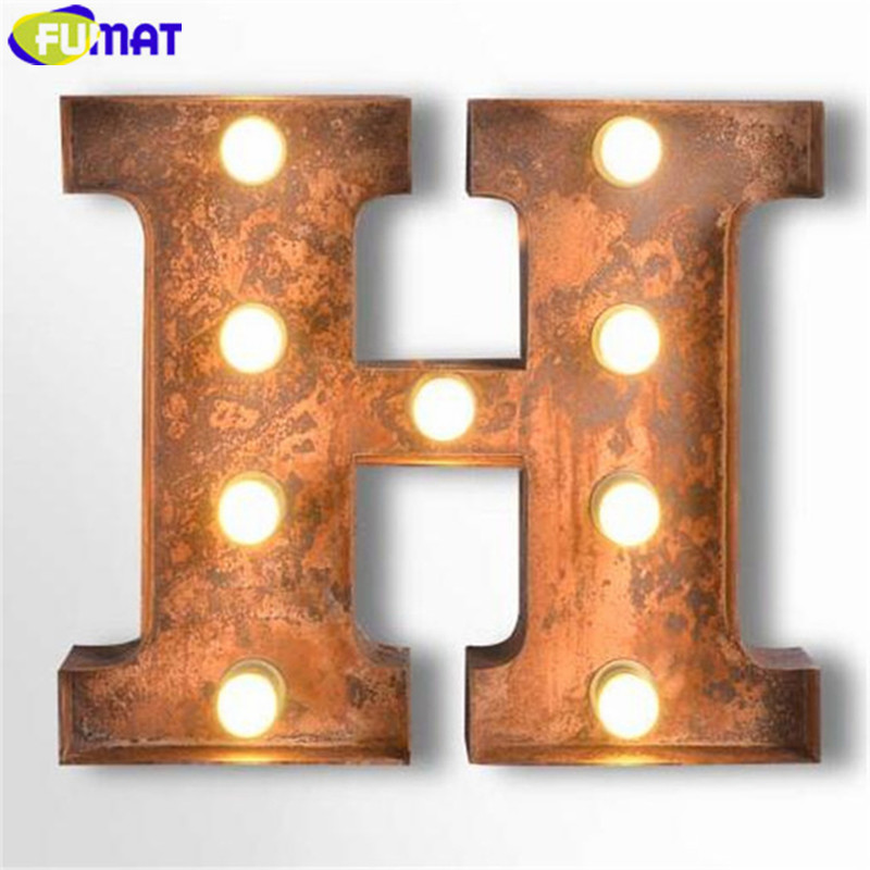 FUMAT Letters H Wall Lamps Vintage Art Deco Lights Cafe Hotel Restaurant Logo Wall Light Living Room Hotel Metal Wall Sconces