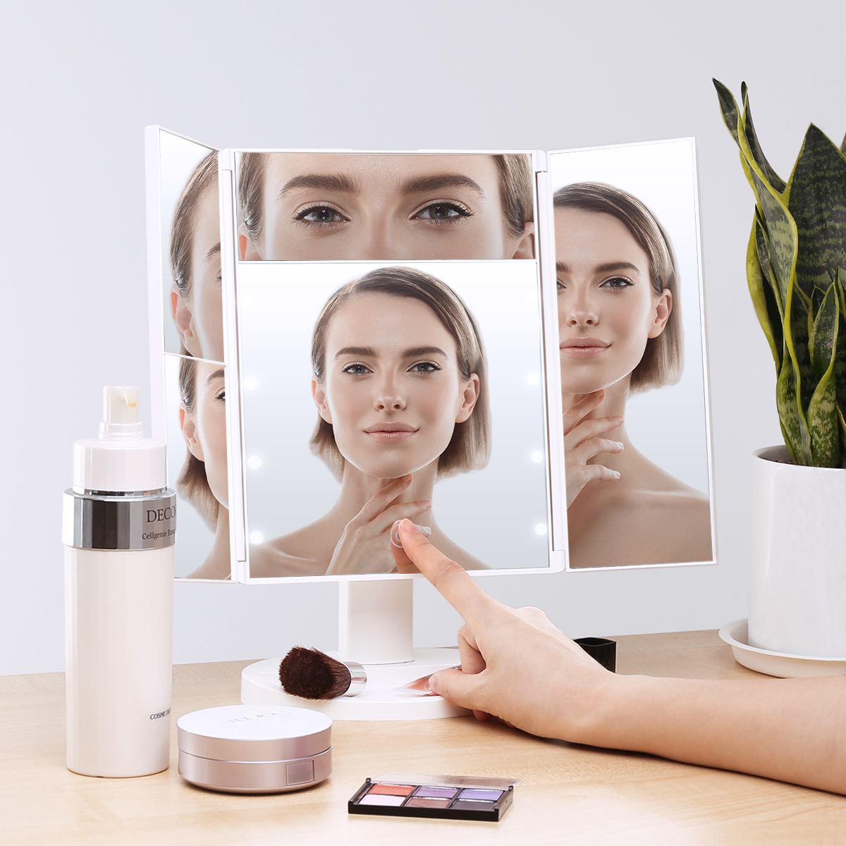 Makeup Mirror 8 LED Lighted Touch Screen 3X/2X/5X Magnification Foldable Adjustable Maquiagem LED Mirror usb led makeup mirror maquiagem double sided wireless charge for phone led touch screen amplifier make up mirror cosmetics tool