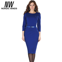 Nordic winds 2016 autumn occasion girls trend o-neck three quarter sleeve strong transient sheath bodycon profession midi gown vestidos