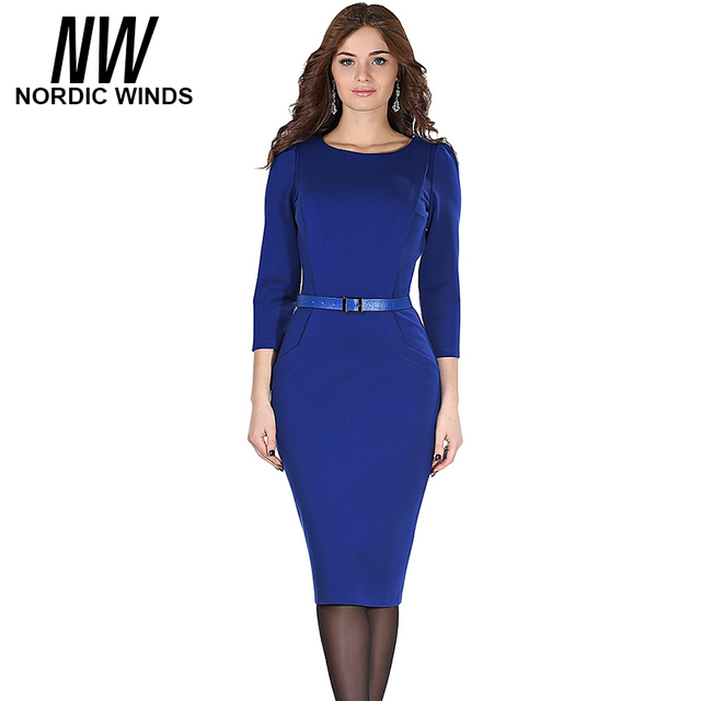 Nordic winds 2016 autumn party women fashion o-neck three quarter sleeve solid brief sheath bodycon career midi dress vestidos