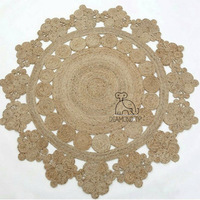 INS Nordic style jute Carpet geometric Bohemia Indian Rug Floral Pastoral Modern round bedside mat morocco french chic design