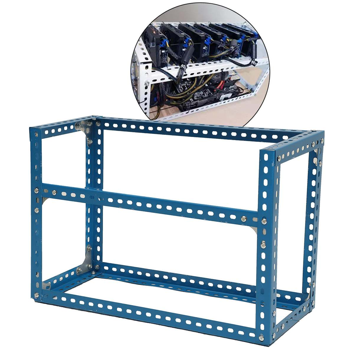 Steel Coin Open Air Miner Mining Frame Rig Case Up To 6 GPU BTC LTC ETH Ethereum Blue