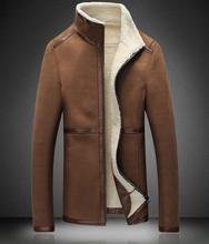 Plus velvet stand collar Leather clothing male  Autumn and winter Wear fur jacket mens Fur Warm coat  leather jacket men Slim