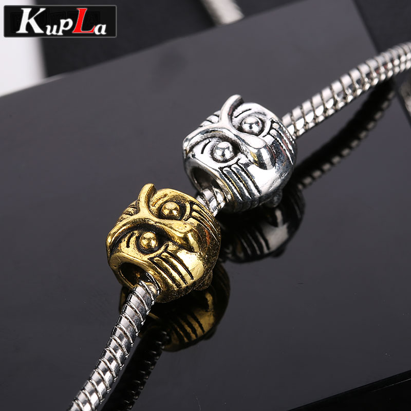 Vintage Owl Beads for Pandora Charms Bracelets Metal Animal Beads for Pandora DIY Big Hole Spacer Beads for Jewelry Making