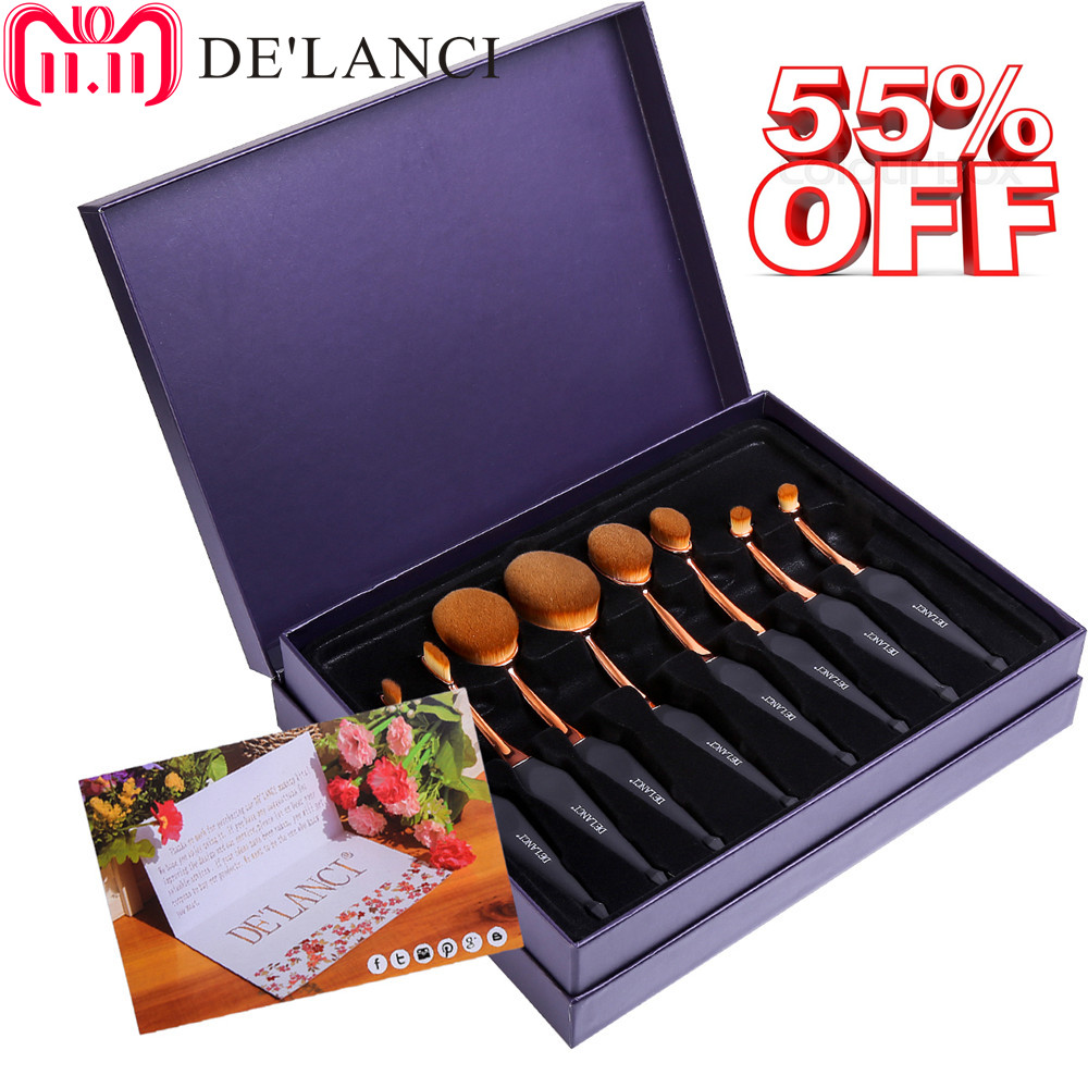 DE'LANCI 8 Piece Oval Toothbrush Makeup Brushes Tools Foundation Powder Oval Makeup Brush Set Beauty Kits Pincel Gift for Women стоимость