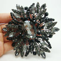 "3.97"" Vintage Jewelry Black Flower Large Brooch Pin Rhinestone Crystal Party Jewelry"