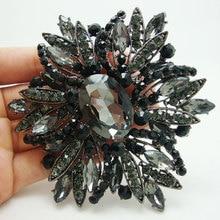 Broche negro de Estilo Vintage para mujer, joyería, flor negra, grande, Diamante de imitación, joyería de fiesta, broches, alfileres para mujer