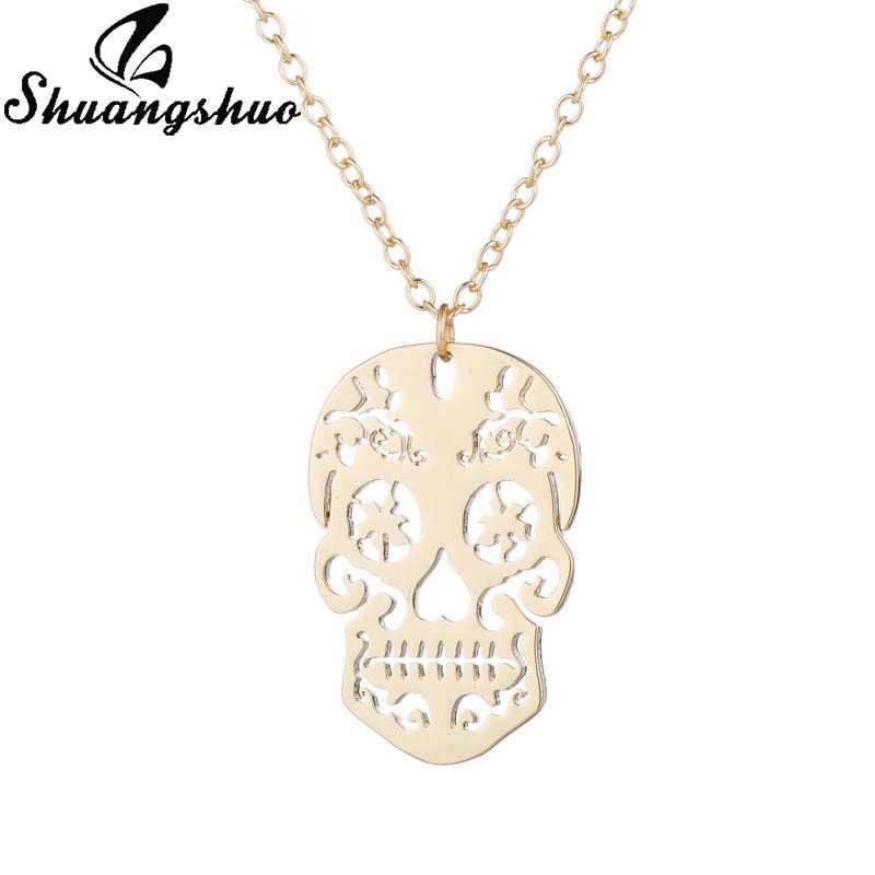 Shuangshuo สร้อยคอจี้ Chokers สำหรับผู้หญิง Skull Collares สแตนเลสจี้สร้อยคอยาว Chain Collier Femme