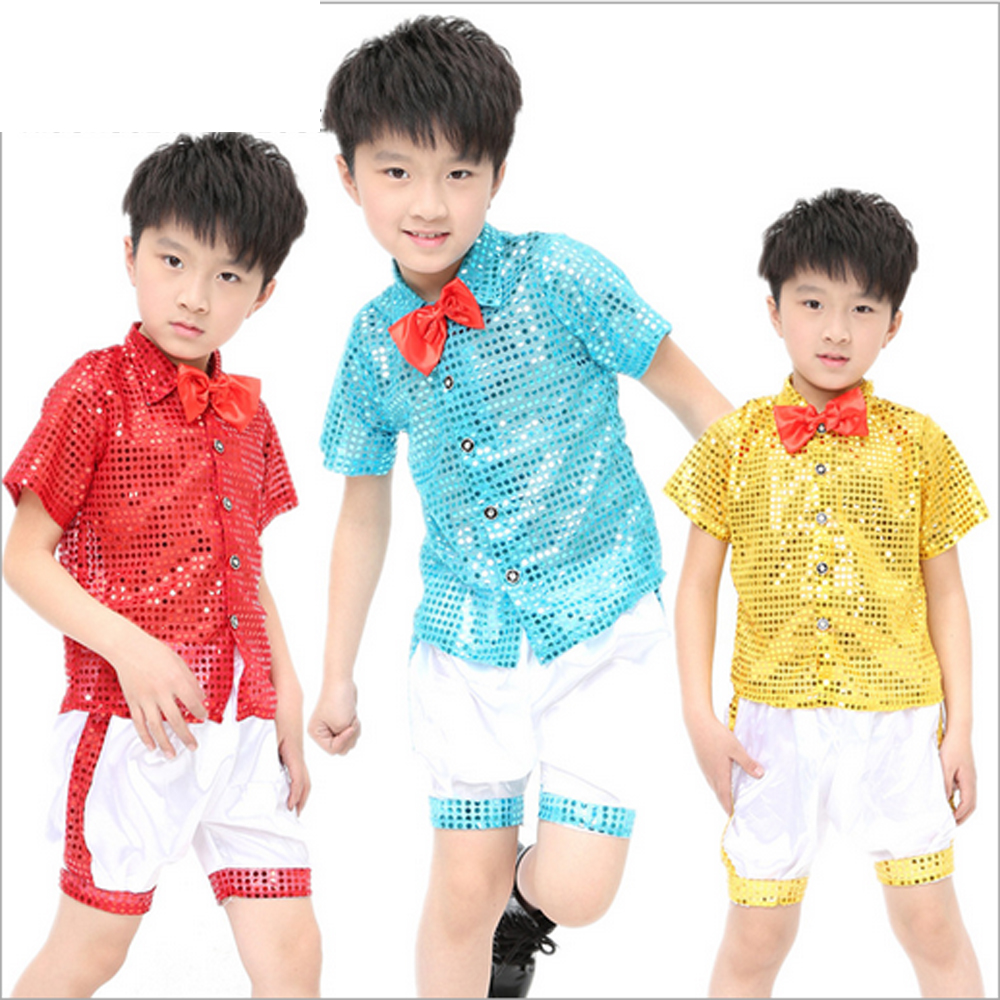 2017 new unisex children's show performance clothing sequins modern jazz stage clothes red tie chorus boys and girls wear sets