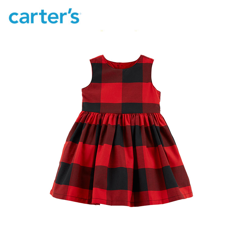 Carters Buffalo Check Holiday Dress Cute plaid ball gown dresses sweet Princess dress autumn winter baby girl clothes 120G248