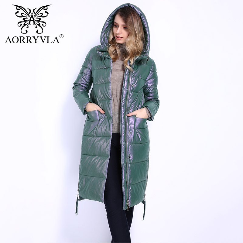 AORRYVLA Brand Winter Jacket For Women 2018 Eco-Leather Windproof Warm Women Long   Parka   Thickening Cotton Padded Female Coats