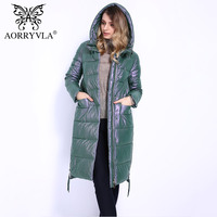 AORRYVLA Brand Winter Jacket For Women 2018 Eco Leather Windproof Warm Women Long Parka Thickening Cotton Padded Female Coats