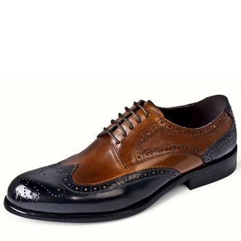 2019 Italian Men Dress Shoes Brogue Blue Retro Oxford Shoes Men Formal Shoes Genuine Leather Wedding Shoes chaussure en cuir