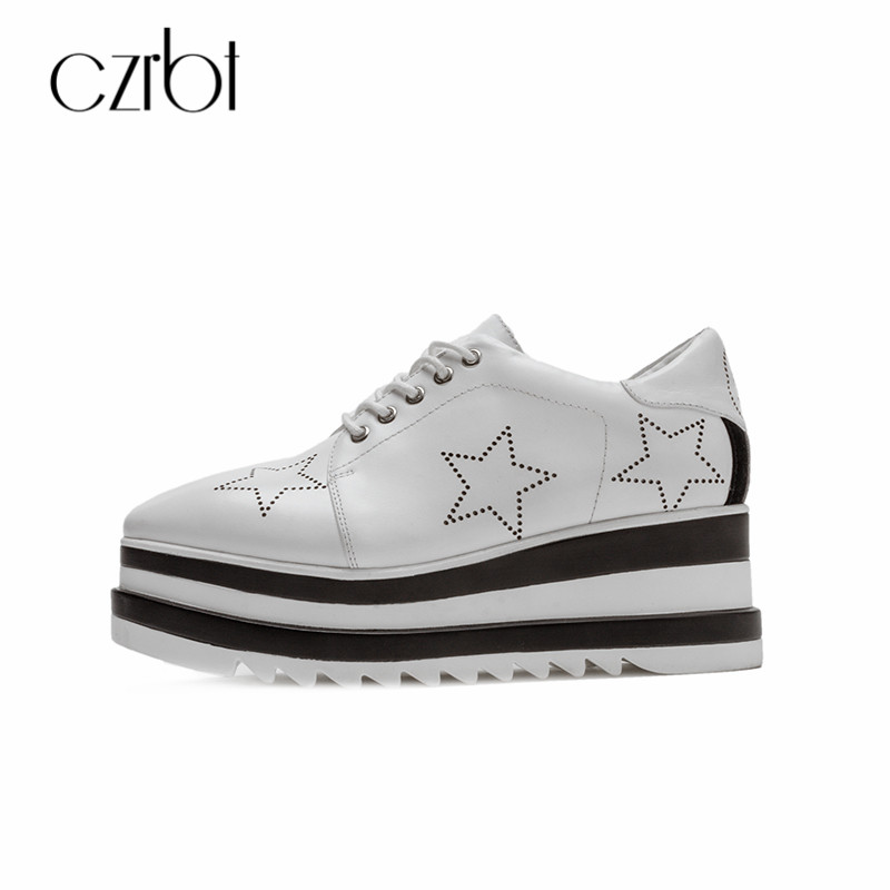 CZRBT Platform Shoes Women 2018 Spring Autumn Handmade Genuine Leather Lace-Up Shoes Narrow Band 34-39 Size Fashion Flat Shoes liren size 34 39 flat shoes 2018 lace up genuine leather casual high quality fashion women shoes white black