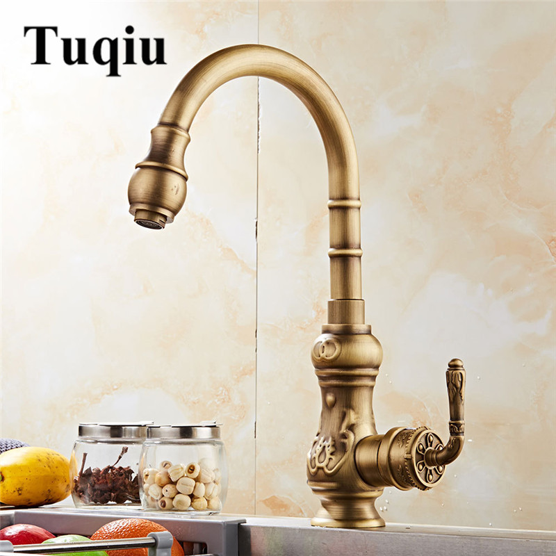 Antique Rotating Carved Kitchen faucet swivel kitchen sink Faucet Mixer kitchen vanity faucet water tap Torneira de CozinhaAntique Rotating Carved Kitchen faucet swivel kitchen sink Faucet Mixer kitchen vanity faucet water tap Torneira de Cozinha