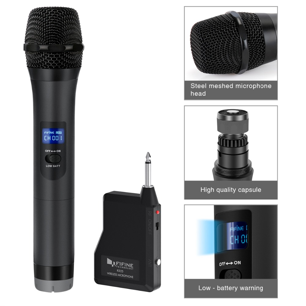 FIFINE UHF Wireless mic System for Outdoor part small stage Bar Live Show Family ktv with Handheld Microphone Receiver k025-1 1