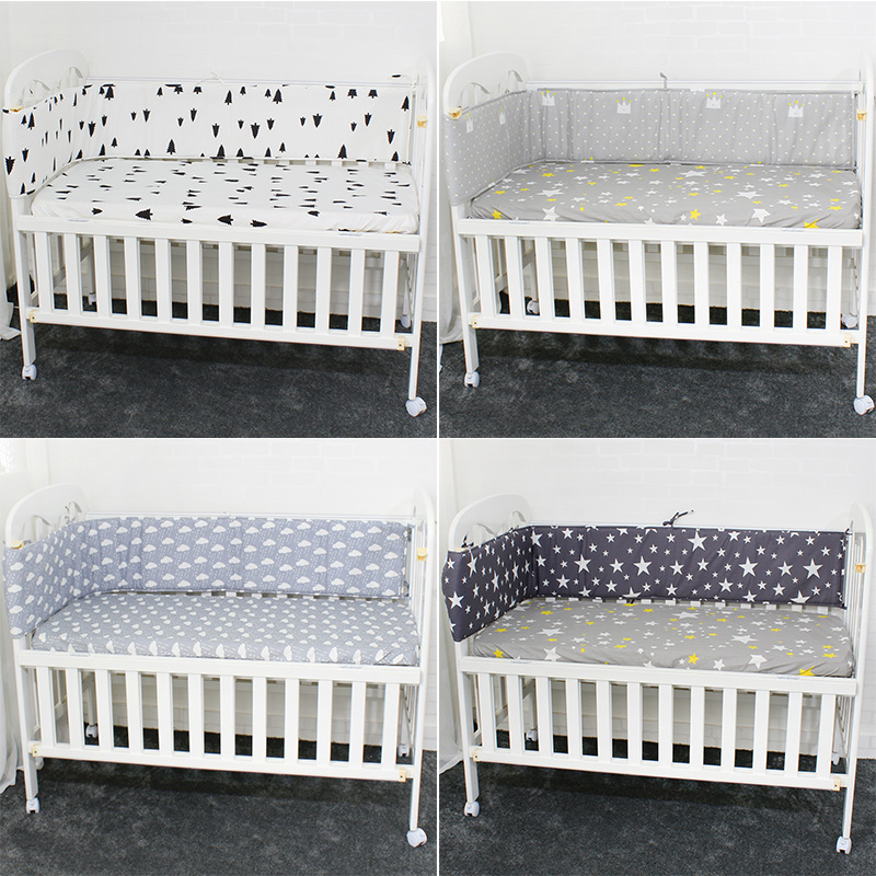 Breathable Cotton Linen Baby Crib Bumpers For Newborn Infant <font><b>Cot</b></font> Protector Crotch To The <font><b>Cot</b></font> 200cm Length