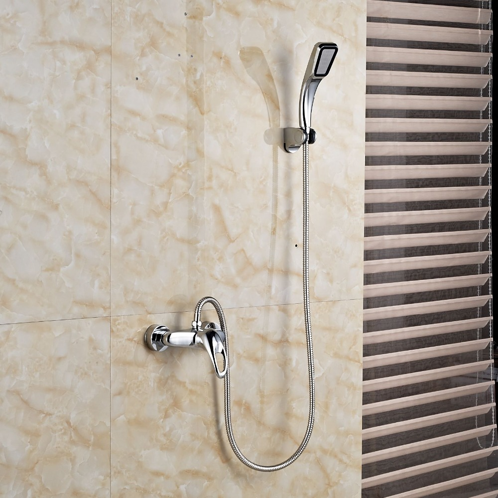 Chrome Handheld Shower Faucet Wall Mount Single Handle Hot Cold ...