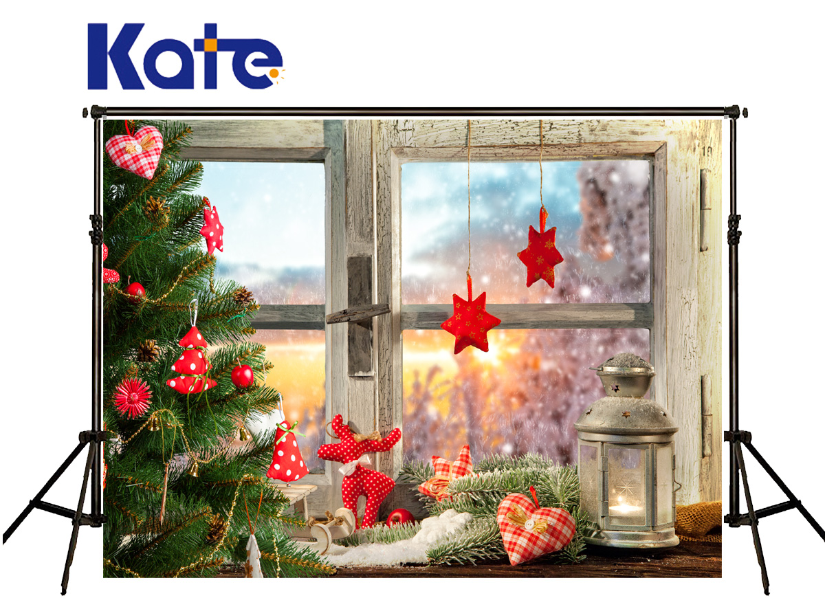 Kate Backgrounds Photography Christmas Red Star Heart Backgrounds Photography Wood Windows Pinus Backdrop For Photo Studio star trading heart