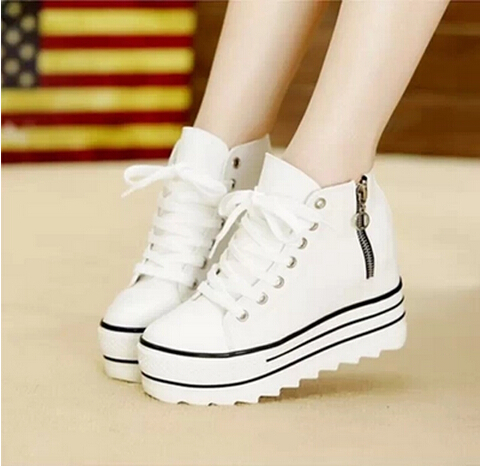 5437a468028 2017 Fashion Womens High Heeled Platform Shoers Canvas Shoes Elevators  White Black High Top Casual Woman Shoes with Zipper-in Women s Vulcanize  Shoes from ...
