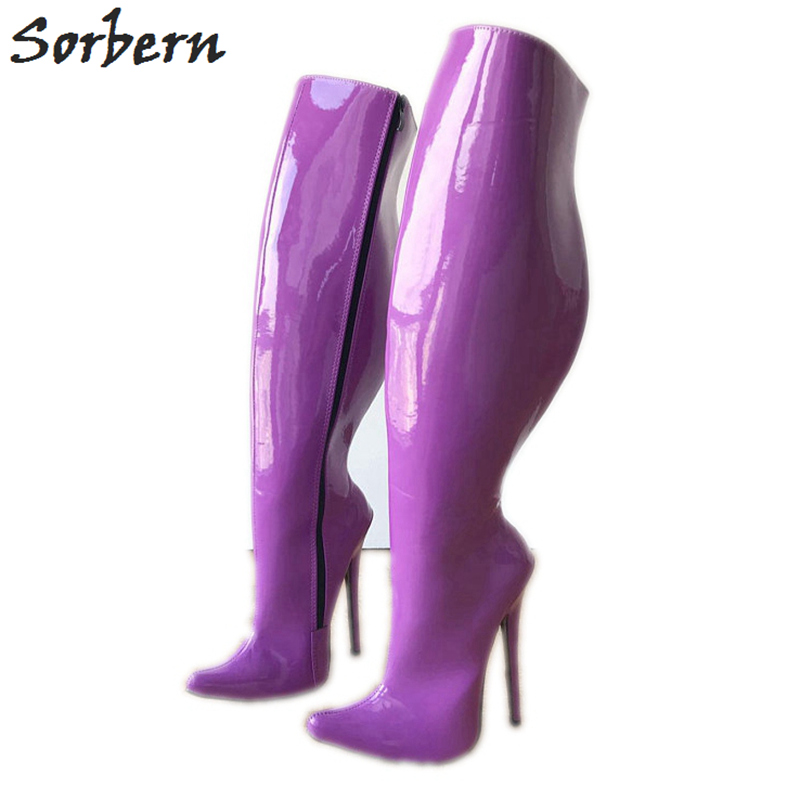 Sorbern 18Cm High Heel Knee High Boots For Women Stiletto 65Cm Hard Shaft Customized Wide Calf Size Mid-Thigh Boot Purple