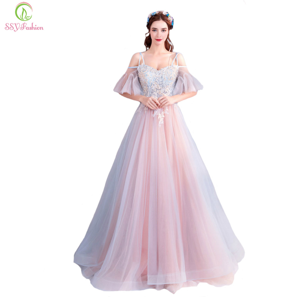 SSYFashion New Sweet Pink Prom Dress The Bride Banquet Sweetheart Lace Appliques Floor length Party Formal