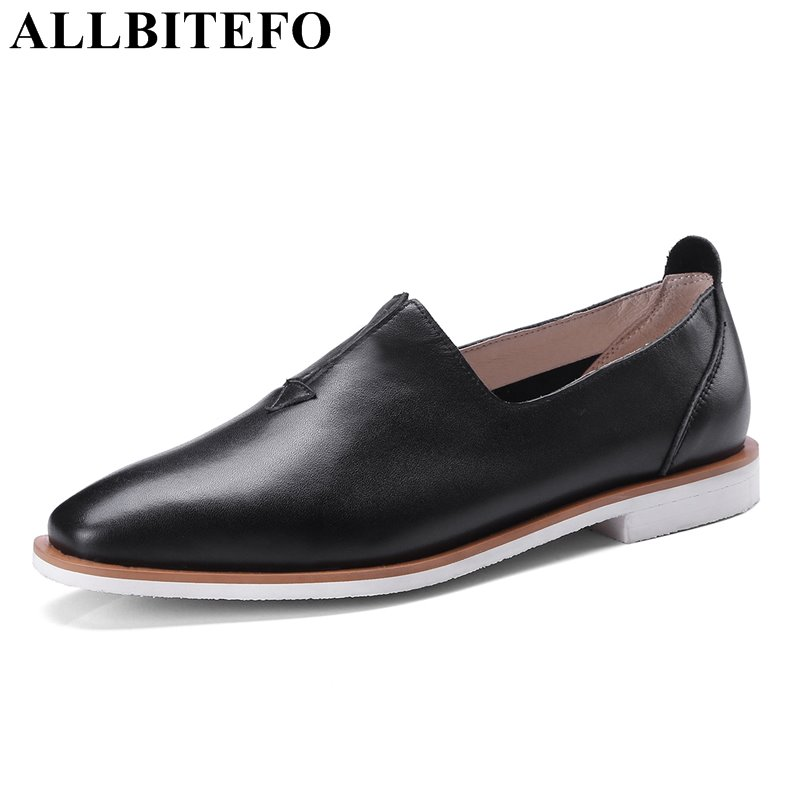ALLBITEFO hot sale genuine leather square toe low-heeled women flats thick heel high quality girls shoes casual women shoes hot sale mens italian style flat shoes genuine leather handmade men casual flats top quality oxford shoes men leather shoes