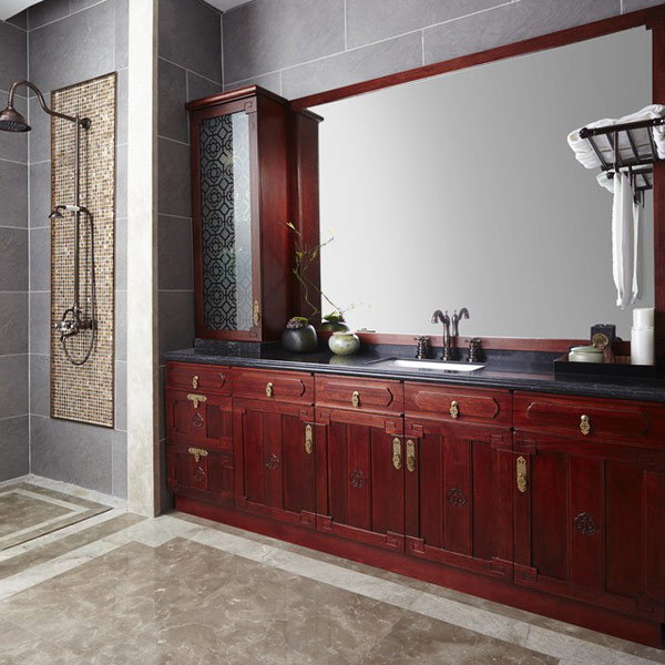 2014 New Design Large Wooden Bathroom Vanity Antique Vanity Dresser with Mirror