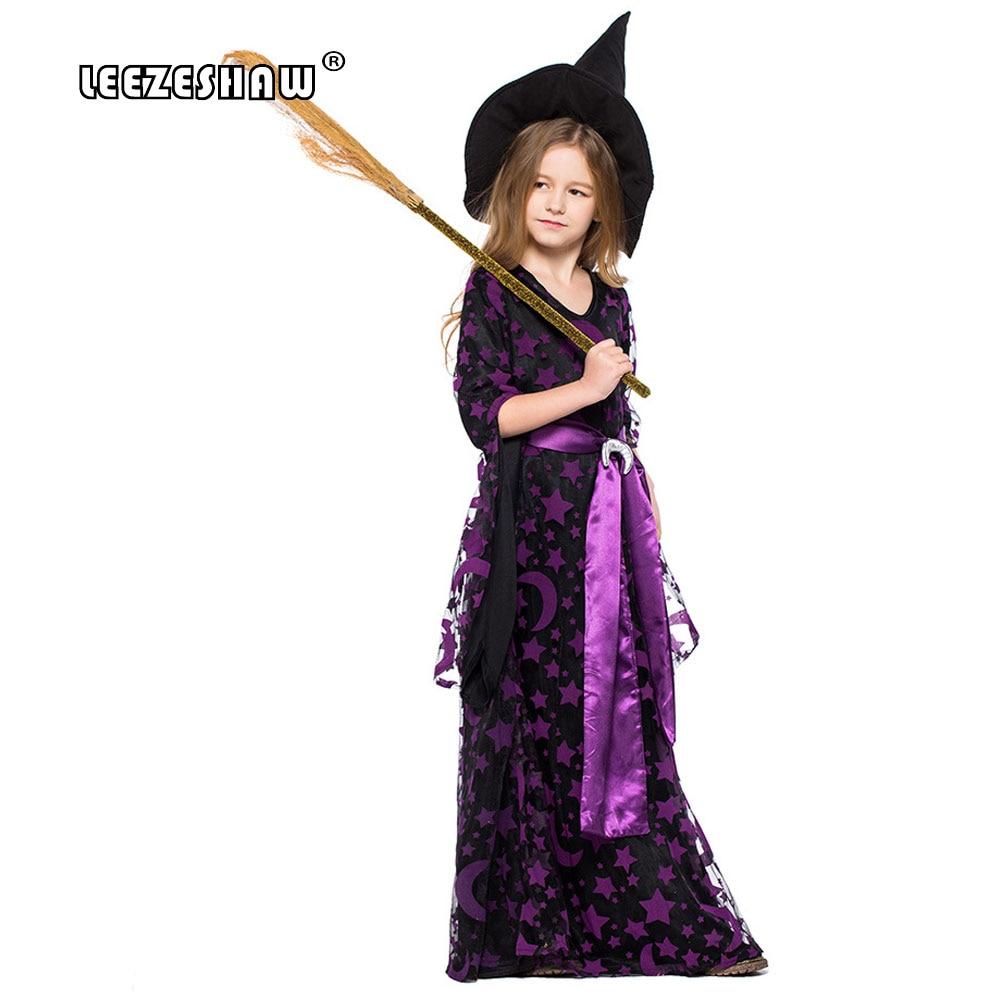 d66128a4469 Leezeshaw Child Girl Purple Stars Moon Magic Witch Costume Purple Mesh Dress +Black Dress+Hat+Belt Halloween Witch Girl Uniforms