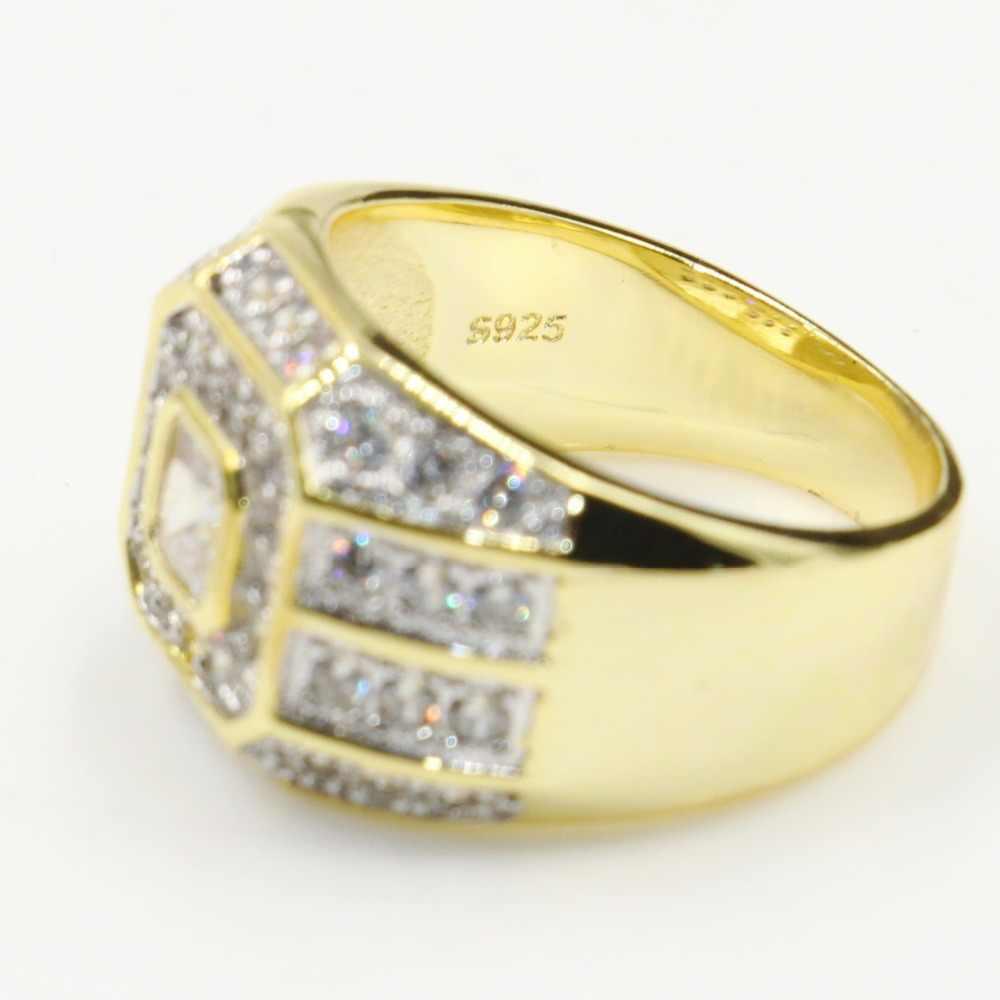 Najlepiej sprzedający się wysokiej jakości luksusowe biżuteria 925 srebro i złoto wypełnienie biały, przezroczysty, 5A cyrkonia Wedding Band pierścień dla kobiet