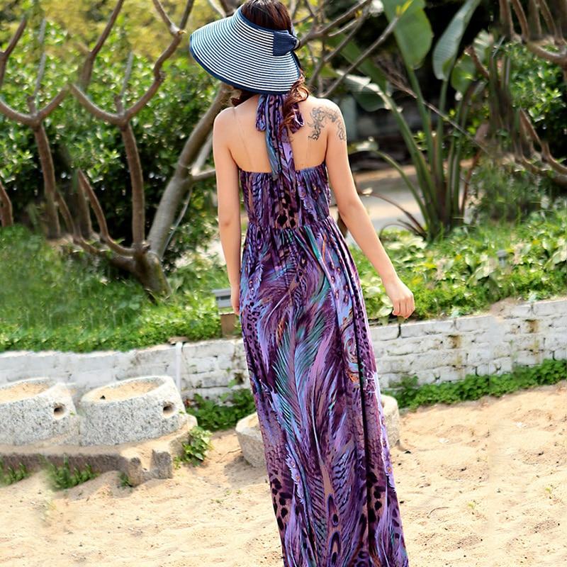 1c05c65eea Hot New Bohemian Long Dress Summer Beach Sexy Drerss Strap V Neck Peacock  Print Women Silk Boho Maxi Dress Free Shipping-in Dresses from Women s  Clothing on ...