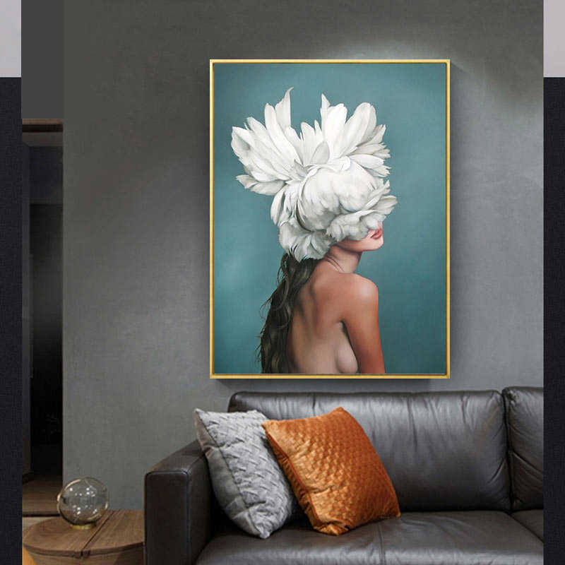 High Quality Prints Flowers Feather Sexy Women Canvas Painting Wall Art Pictures Poster For Living Room Home Decoration