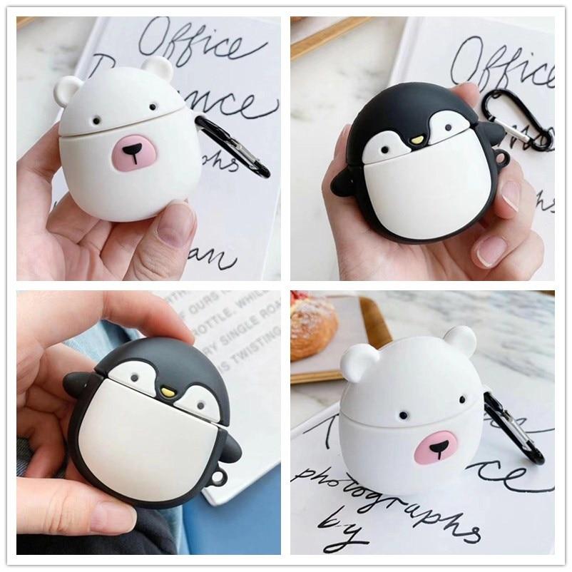 Мультяшные милые полярные медведи и Пингвины для airpods 2 Чехол для Apple беспроводной Bluetooth защитный чехол для наушников Мягкий корпус