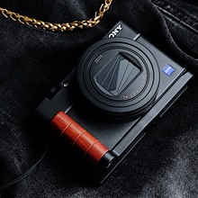 Handmade Wooden Circular Hand Grip With Aluminum Base Bracket Quick Release L Plate fit for Sony RX100 M6 M5