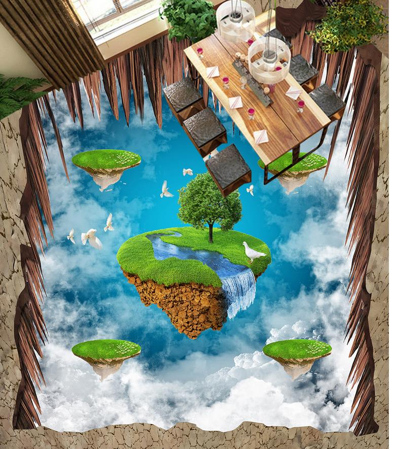 Sky Floating Island Pigeon 3D Floor Painting 3d bathroom wallpaper waterproof 3d floor painting wallpaper сумка river island river island ri004bwzyz56