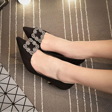 2016 New Spring Pointed Pumps For Women High-heeled Shoes Diamond Fine High Heels Buckle Black Red Gray Wedding Women Shoes XP35