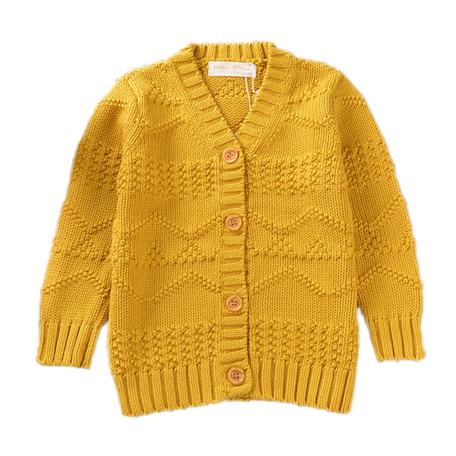 Premium Yellow & Grey Cardigan Baby Girl Sweater Unisex Infant Boys Long Sleeve V-neck Textured Knitted Coat Outwear YM05MY