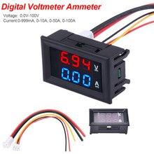 Painel amperes de voltagem, painel de medição de corrente dc 100 v 10a led dc visor duplo 2 em 1 0.56