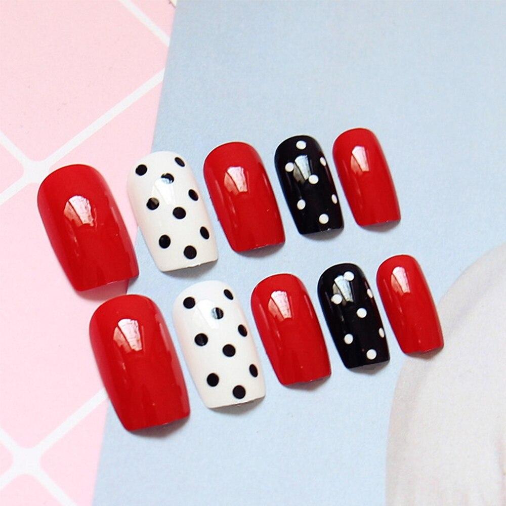 24pcs/Set Black White Point False Nails Girls Fingernail Decoration ...
