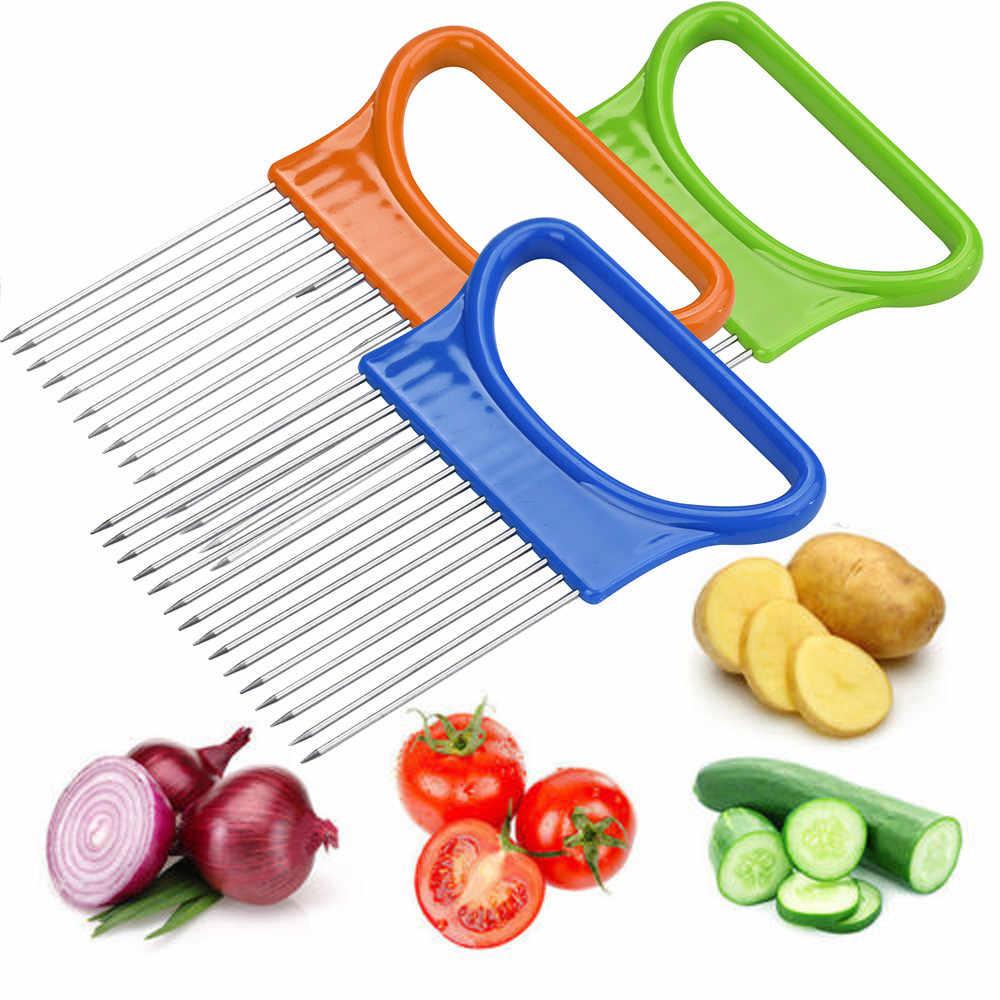 새로운 Shrendders & Slicers 토마토 양파 야채 슬라이서 절단 보조 도구 가이드 슬라이싱 커터 안전 포크 주방 가제트