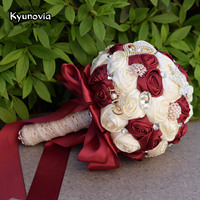 Kyunovia Bridal Wedding Flowers Satin Roses Bride Bouquets Love Brooch Bouquet Crystals Artificial Rose Wedding Bouquet FE64